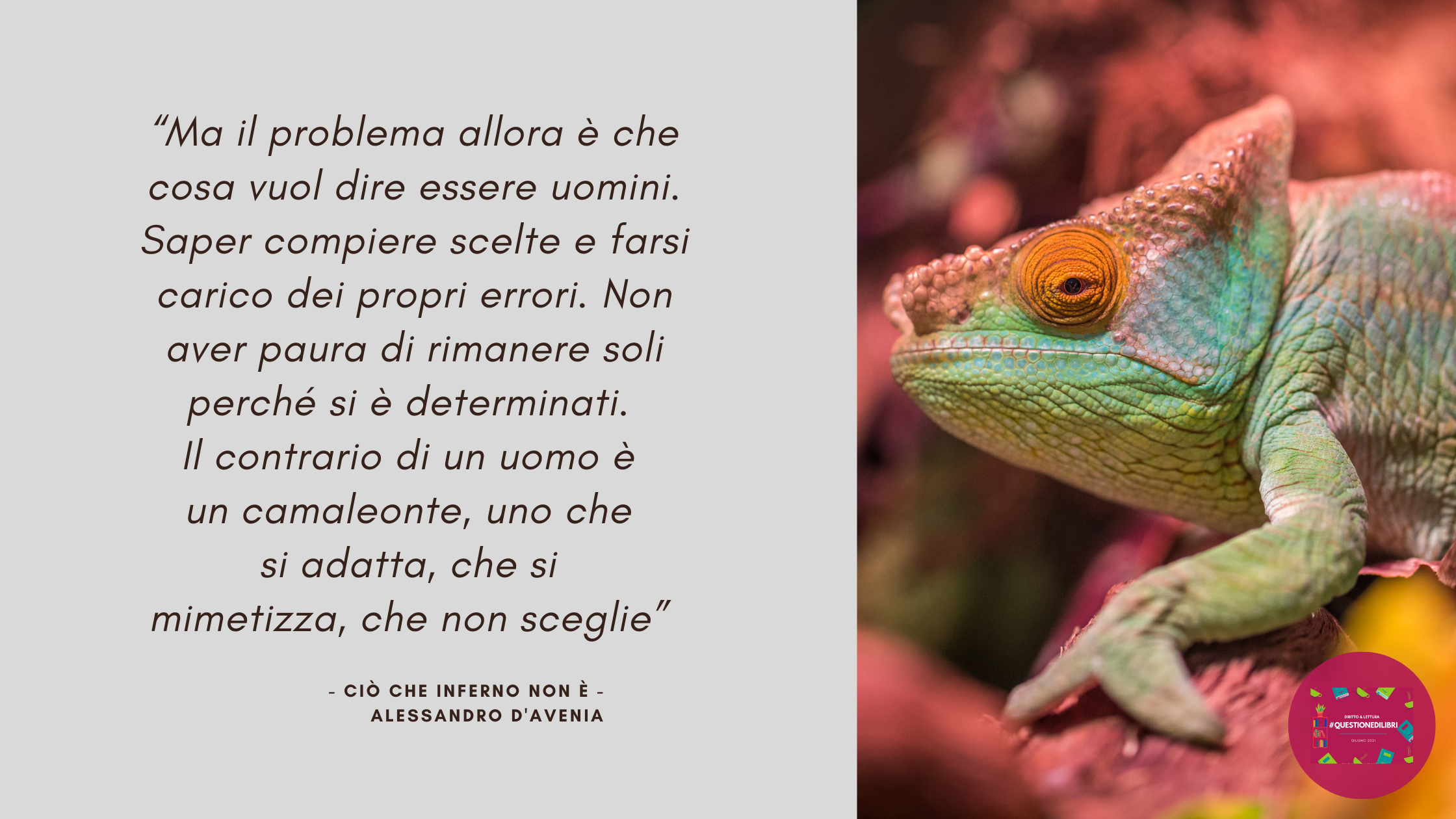 #Questionedilibri, giugno 2021. Ciò che inferno non è, di Alessandro D'Avenia.