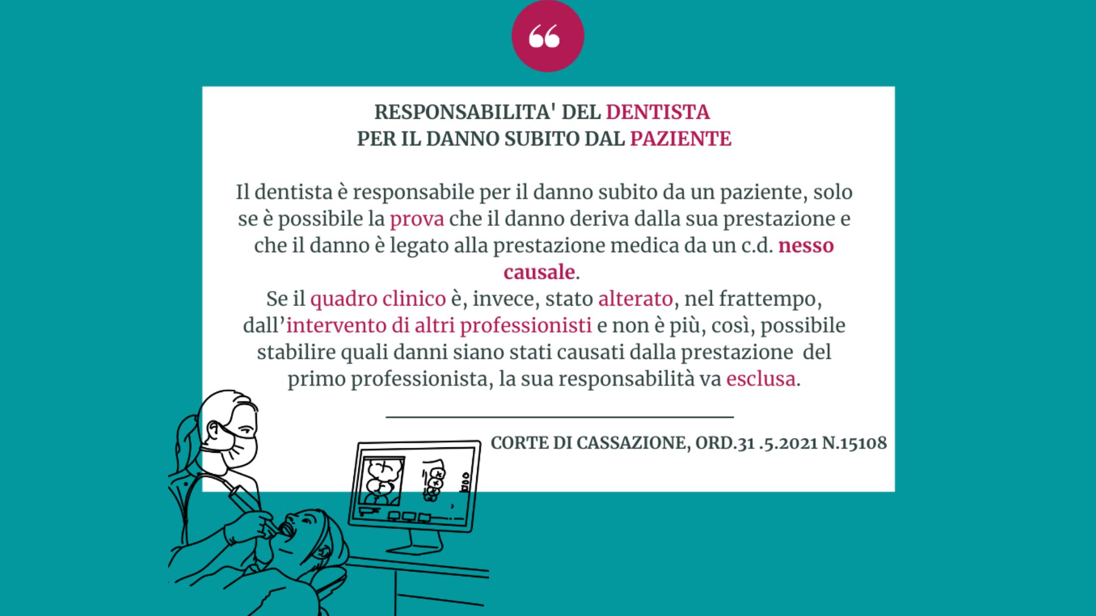 Il dentista è responsabile per il danno del paziente se c'è il nesso di causa con la prestazione.