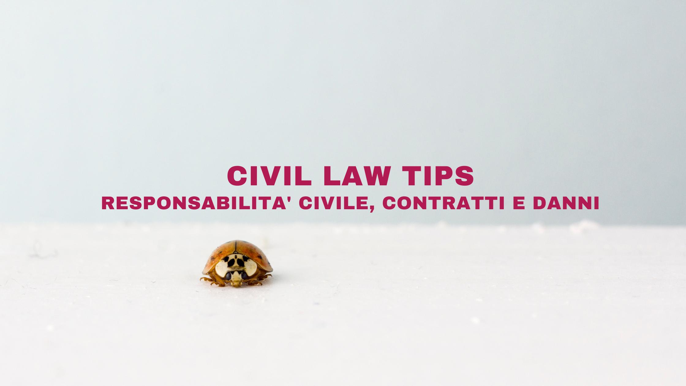 CIVIL LAW TIPS – responsabilità civile, contratti e danni.